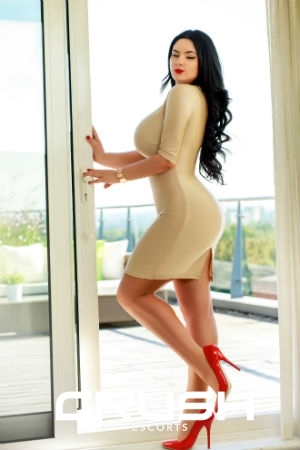 Pamela From Crush Escorts Wearing A Tight Dress and Red Heels.