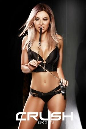Melissa from Crush in black lingerie.